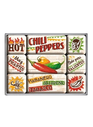 Nostalgic Art Chili Peppers Magnet Set (9 P.) Renkli